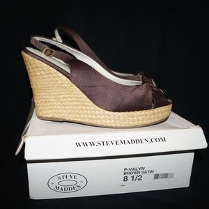 Steve Madden Brown-Satin-Peep Toe Wedge P Valyn